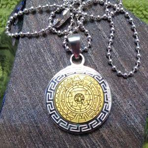 Fini Aztec Calendar Pendant and Chain
